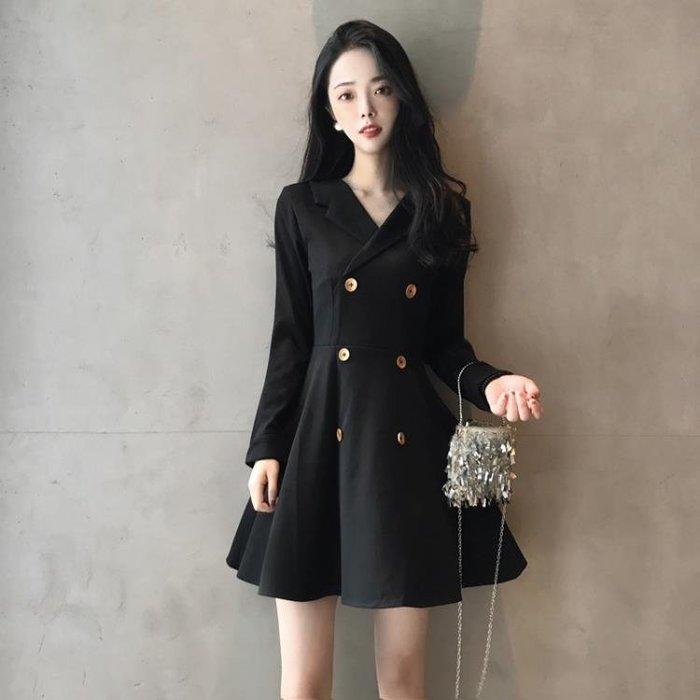 法式小禮服裙山本風年會小黑裙秋娃娃裙法國小眾連衣裙小個子復古