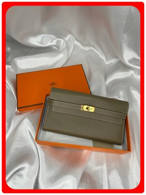 【 RECOVER 名品二手 SOLD OUT】HERMES KELLY長夾 大象灰EPSOM金釦