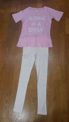換季拍賣 休閒風粉紅色短T 彈性合身褲兩件式短袖套裝整套100