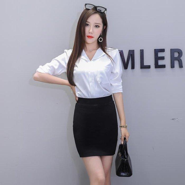 (現貨)防走光職業短裙春夏高腰一步裙彈力修身包臀裙大碼工作女包裙KLSH44142