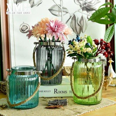 高仿花法式鄉村地中海創意藍色透明玻璃花瓶水培花瓶花藝套裝 家居擺件