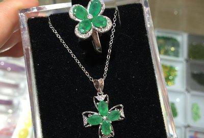 天然A級祖母綠(頭等艙精品)925白k金 套組 吊墜 項鍊及 戒指  可分開買 工廠批發價