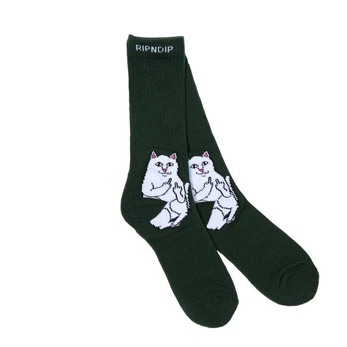 { POISON } RIPNDIP LORD NERMAL SOCKS HUNTER GREEN 深綠中指貓中筒襪
