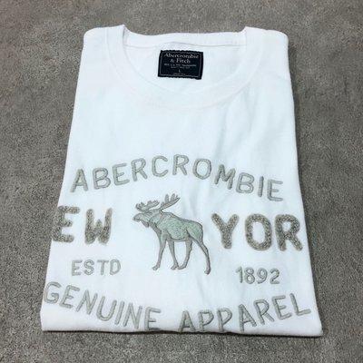 Maple麋鹿小舖 Abercrombie&Fitch* AF 白色貼布字母電繡麋鹿短T * ( 現貨L號 ) 高雄市