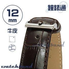 【鐘錶通】C1.28I《亮彩系列》鱷魚格紋-12mm 古典褐┝手錶錶帶/皮帶/牛皮錶帶┥
