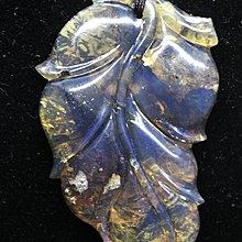 多米尼加藍珀 多明尼加藍珀 藍珀葉子(大業有成)(留薄皮彫刻)送小貝殼