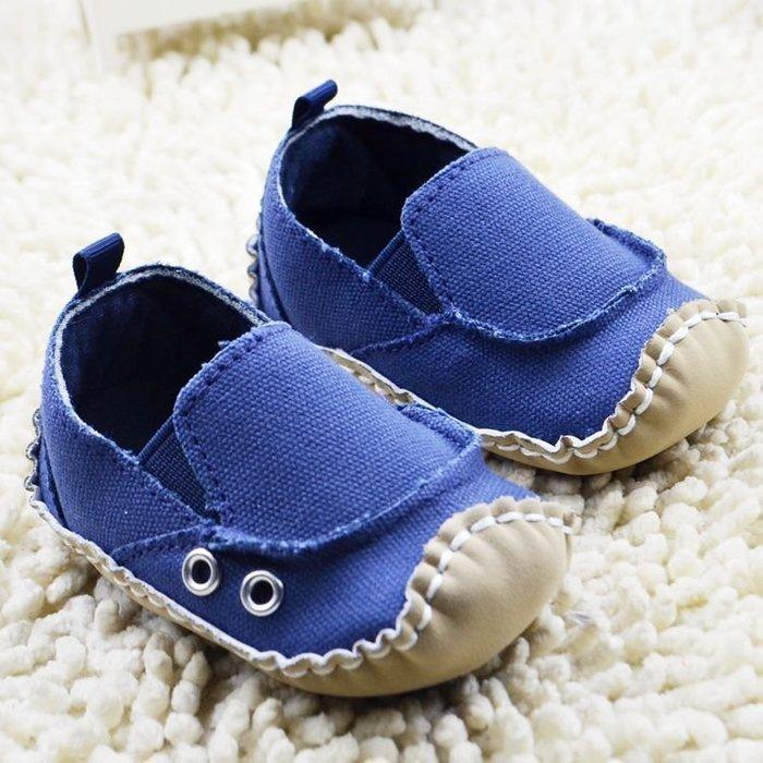 森林寶貝屋~膠底~百搭藍色休閒鞋~學步鞋~嬰兒鞋~寶寶鞋~娃娃鞋~學走鞋~童鞋~鬆緊帶設計~穿脫方便~坐學步車穿