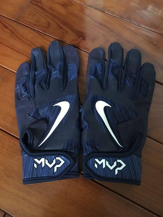全新 NIKE MVP PRO 職業 最高等級 球員版支給 藍 深藍 白 綿羊皮 打擊手套 一雙 已絕版 最後一雙