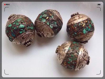 【雅之賞|藏傳|佛教文物】*特賣* 尼泊爾手工珠DIY 藏式包銀松石配珠(4個)~071720
