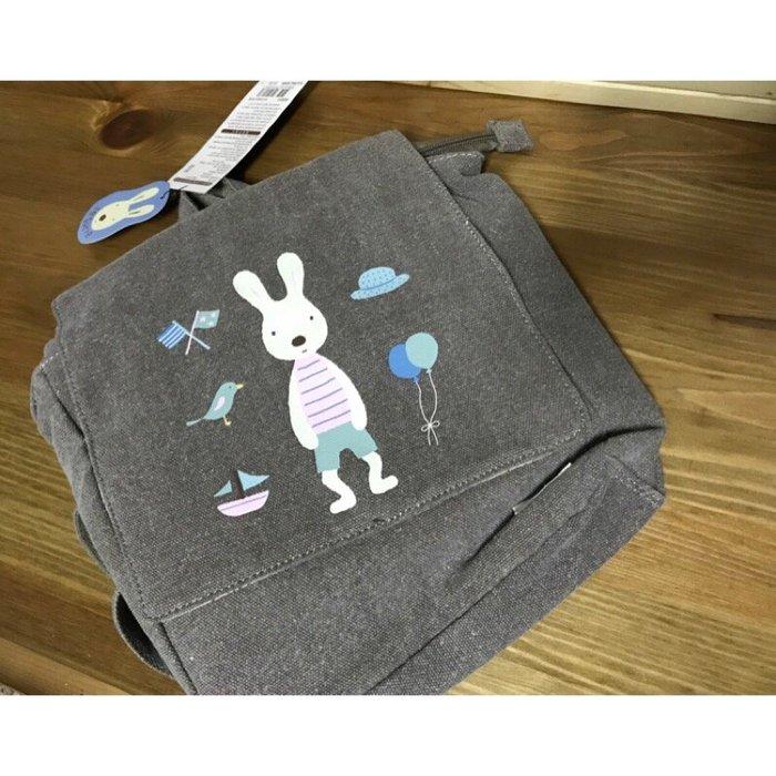 特價 990 全新 韓國購回正版法國兔洗舊感咖啡系兒童背包