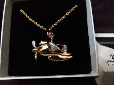 Rare Swarovski Crystal aeroplane Necklace /Brooch MIB