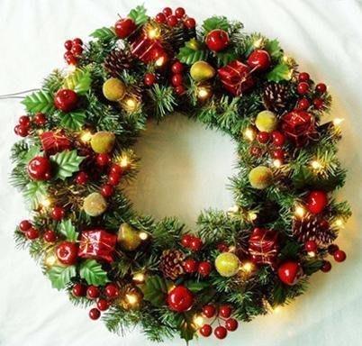 【優上精品】聖誕花環 45CM50CM60CM精美裝飾聖誕花環 聖誕樹裝飾用(Z-P3209)