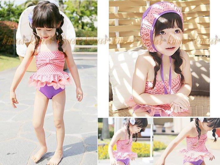 可愛點點連身蝴蝶結造型點點 連身泳衣 二件套 戲水游泳 kimiss【CP041】