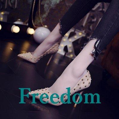 Freedom女鞋超淺口尖頭細跟高跟鞋2019新款歐美性感鉚釘領舞春季單鞋女百搭