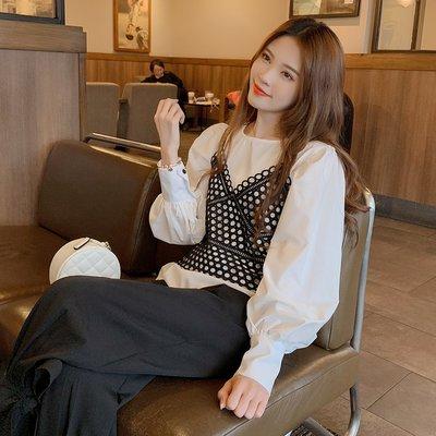 可可里小姐的衣櫃Q1904-2019春新款女裝韓版圓領燈籠袖網紅吊帶兩件套襯衫 0311