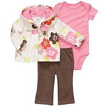 【安琪拉 美國童裝/生活小舖】Carter's 粉色繽紛花朵刷毛套裝 –連帽外套+包屁衣+長褲