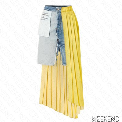 【WEEKEND】 UNRAVEL 百褶拼接 異材質 不對稱 反穿效果 開岔 牛仔 短裙 19春夏