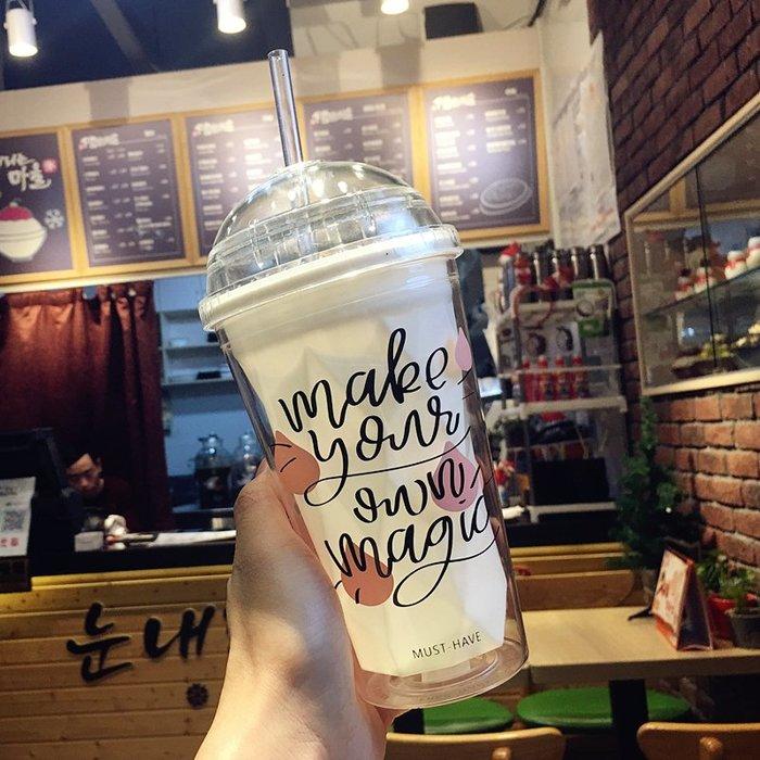 時尚簡約潮人韓版少女心成人夏日吸管杯創意女學生塑料杯個性時尚潮流水杯