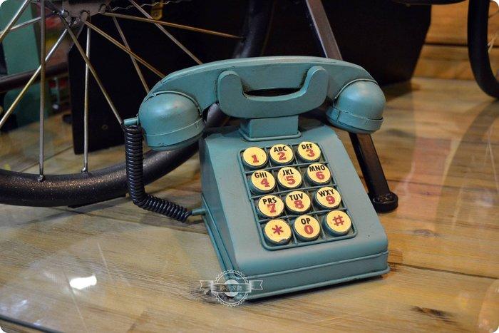 美式工業風鐵皮復古電話模型存錢筒 老式電話機復古綠仿舊 鐵藝擺件擺飾收藏展示玩具送禮拍照道具【【歐舍家飾】】