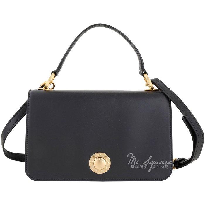 米蘭廣場 FURLA Luna 金屬鎖釦小牛皮手提/斜背兩用包(黑色) 1920844-01