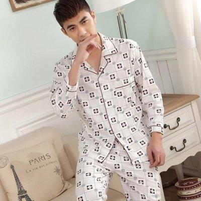 男士睡衣 春夏款棉睡衣男長袖大碼家居服套裝  居家服