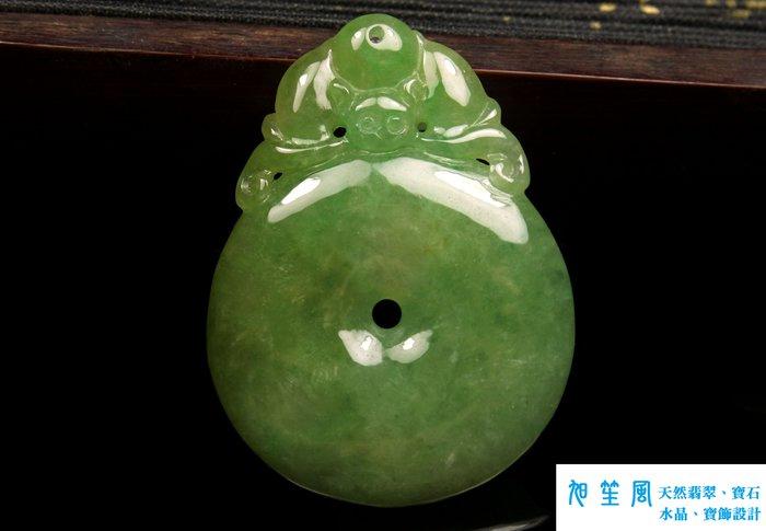 【旭笙風】天然A貨翡翠三彩(黃加綠)墜子「蝙蝠、如意」