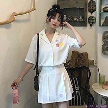 Little-Luck~ 網紅套裝女2019新款夏季正韓短袖襯衫+百褶短裙半身裙洋氣兩件套