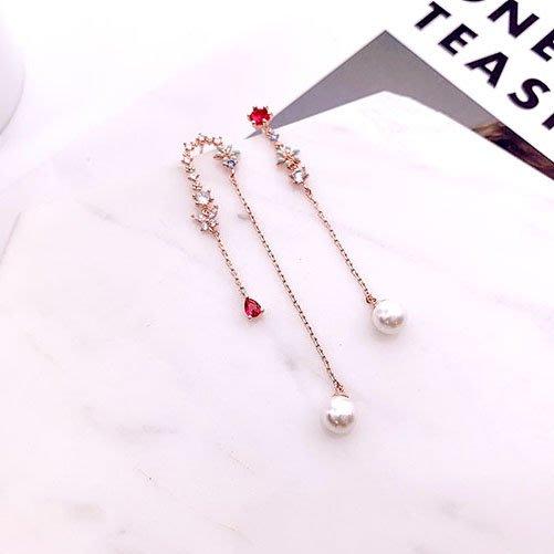 韓國❤️奢華 寶石 珍珠 銀針 垂耳 耳環 / 夾式 耳環【Verina's韓系美飾】