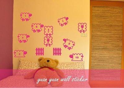【源遠】數羊、數羊、數數可愛的羊【CH-02】 壁貼 裝潢  室內設計 民宿 客製化 兒童房間