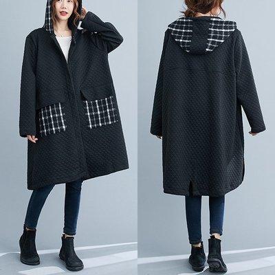 喬羽中大尺碼拚接夾棉風衣寬鬆長版外套GB201016~A12-1