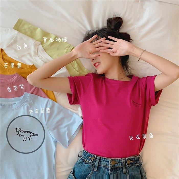 小香風 短袖T恤 時尚穿搭 韓版 chic學生簡約寬松刺繡糖果色打底短袖T恤上衣女