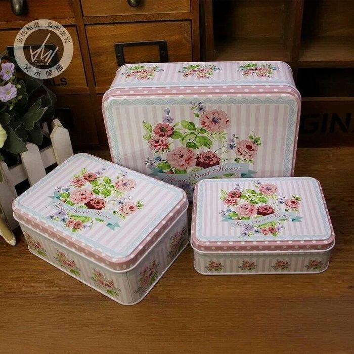 粉紅玫瑰精品屋~小花系列情人收納鐵盒 密封盒~三件套