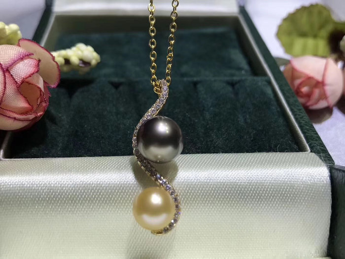 (輕舞飛揚)S925銀鑲嵌精美工藝精緻甜美.天然大溪地海水黑珍珠加南洋金珠.天然海水珍珠正圓強光微瑕品質9-10mm珍珠.