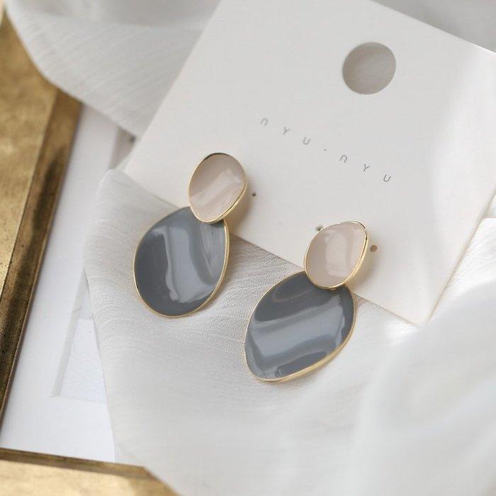 FEI日韓代購~S925銀針高級感撞色耳釘女耳環個性氣質網紅溫柔小眾閨蜜耳飾