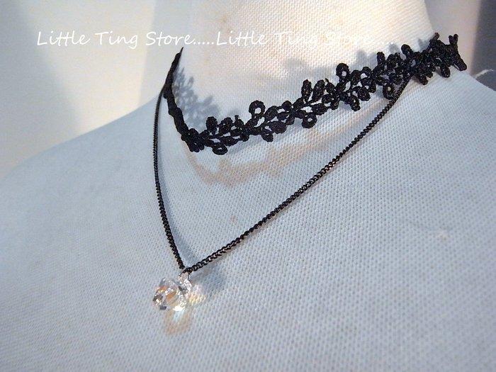 Little Ting Store:生日禮物優雅仕女時尚項鏈蕾絲頸帶+鎖鏈鎖骨鍊頸鍊+單顆鑽綴飾項鍊短/鎖骨鍊/頸鍊