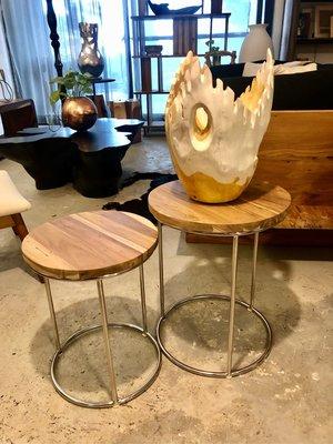 柚木原木茶几邊桌/組-Natural Top Side Table