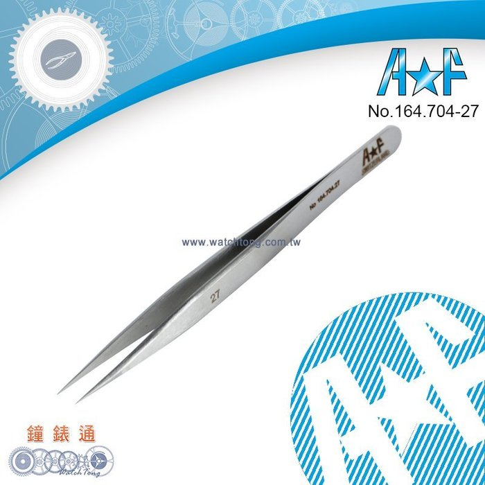 【鐘錶通】164.704-27《瑞士A&F》27號防磁夾 / 防酸性 / 鐘錶維修專用鑷子├夾子/鐘錶維修┤