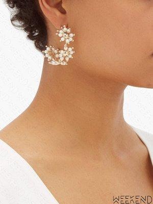 【WEEKEND】ROSANTICA Daisy Hoop 珍珠 一對 耳環 金色 19秋冬