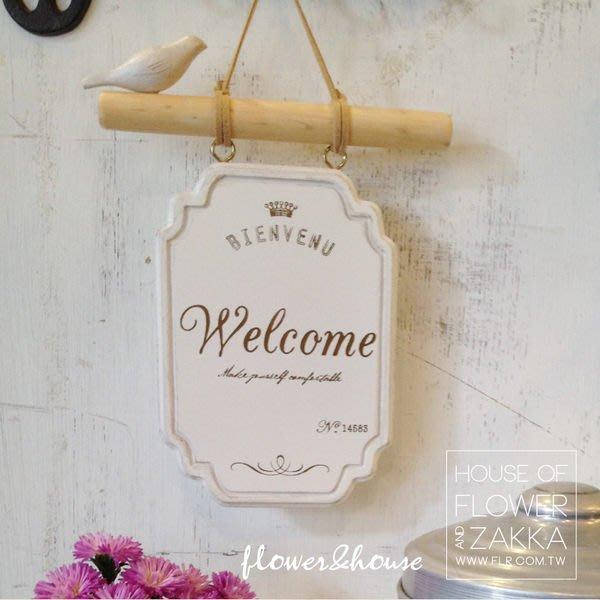 Zakka HOME。日本雜貨。歡迎光臨牌。welcome小鳥。木製。開店必備。白色。現貨。歡迎自取
