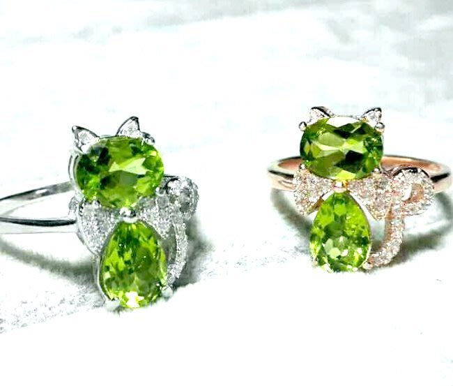 ((瑪奇亞朵的珠寶世界))可愛貓咪款 天然A級橄欖石 約1.8克拉鑲崁 戒指 送禮好用大器 精緻