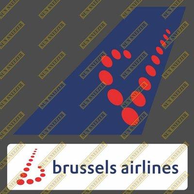 布魯塞爾航空 Brussels 垂直尾翼與機身商標 貼紙  尺寸上63x86mm 下 23x90mm