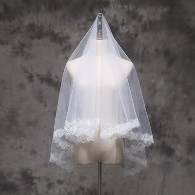 wuli西子的店--短款新娘頭紗女韓2019新款雙層結婚婚紗旅拍蕾絲花邊白紗頭飾超仙