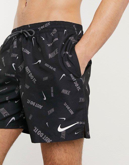 南◇2020 5月 Nike Swimming 海灘褲 泳褲 游泳褲 沙灘褲 衝浪褲 黑色灰色 滿版小勾勾 短褲