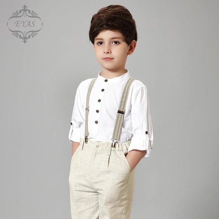 男童禮服兒童禮服男童背帶褲套裝春中大童裝花童主持人鋼琴演出服合唱