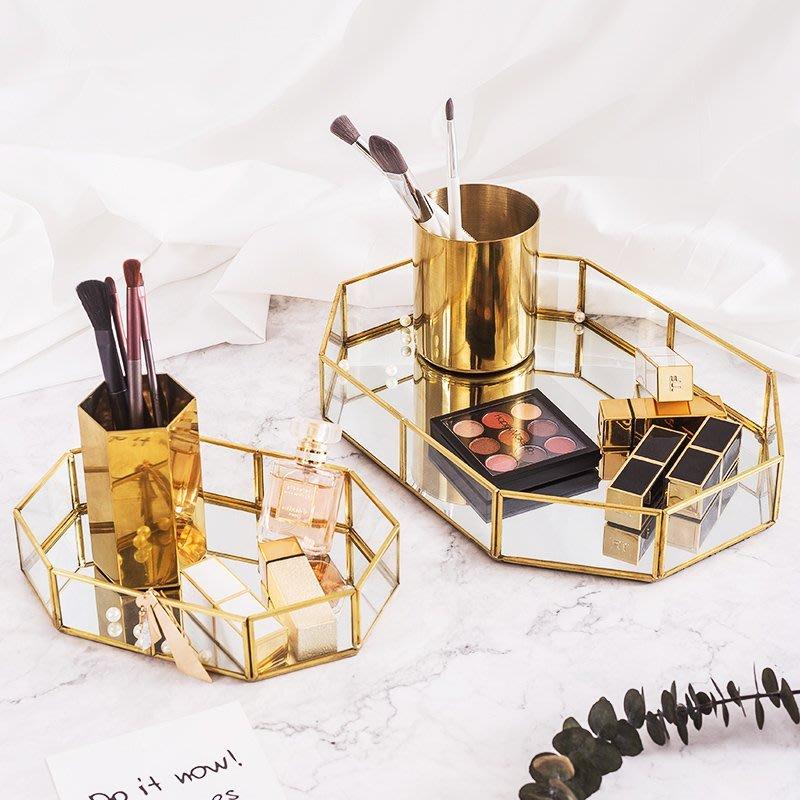 精緻小店.Fine shop--桌面置物架梳妝臺收納盒金色玻璃鑰匙小物件收納盤化妝刷桶整理架