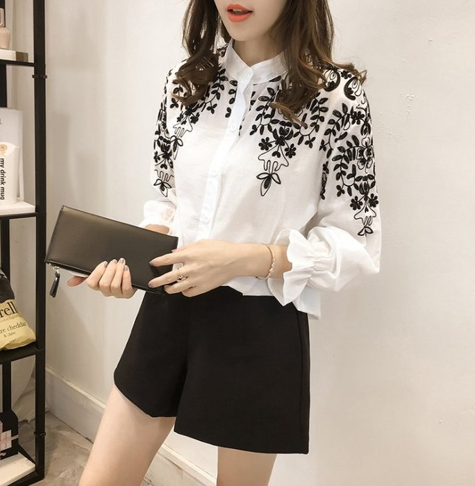 中大尺碼女裝 新款 襯衫女長袖 韓版寬鬆刺繡花朵立領襯衫 打底襯衣 上衣 休閒襯衫