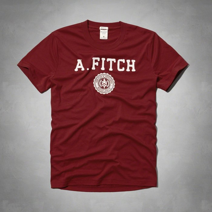 Maple麋鹿小舖 Abercrombie&Fitch *AF 棗紅色貼布徽章電繡短T-A&F GRAPHIC TEE