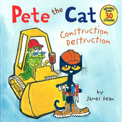 *小貝比的家*PETE THE CAT:CONSTRUCTION DESTRUCTION /附30張以上貼紙