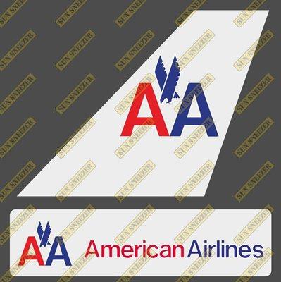 美國航空 舊塗裝American 垂直尾翼與機身商標 貼紙  尺寸上63x86mm 下 23x90mm