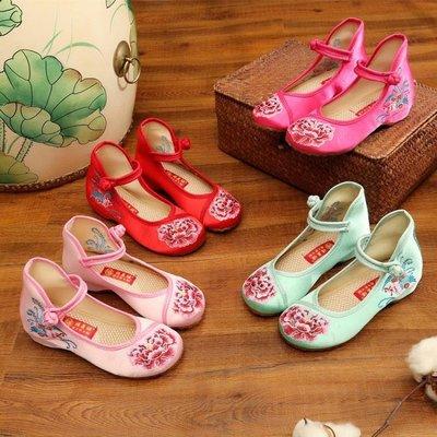 童鞋兒童老北京布鞋女童繡花鞋民族風鞋綢緞面寶寶表演出舞蹈鞋子